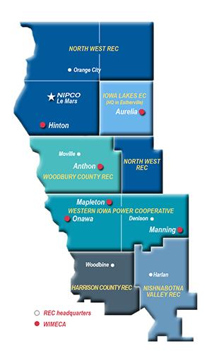 Graphic illustration of NIPCO's service territiry in western Iowa