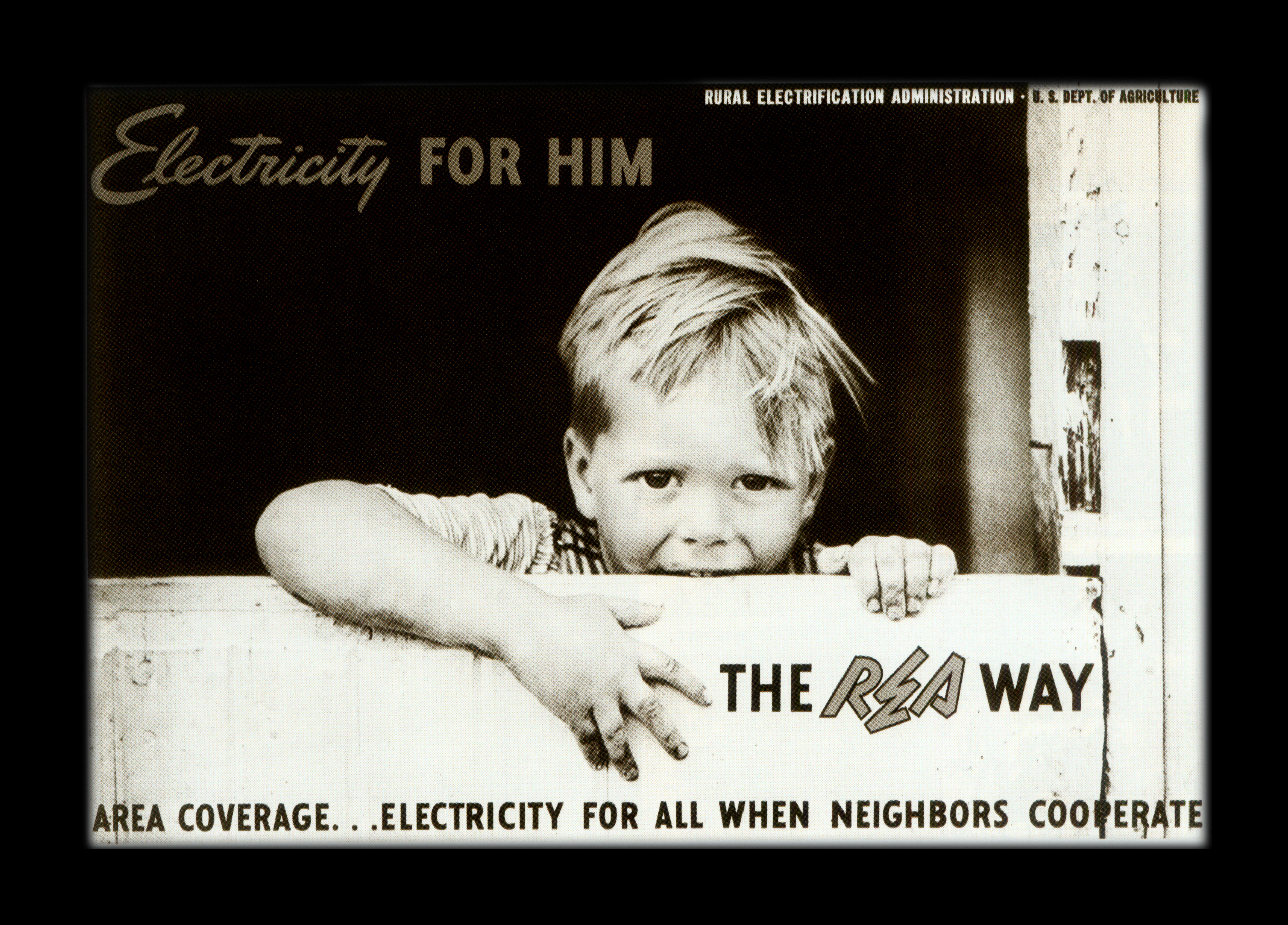 Image features 1930's advertisement of a young boy from rural America leaning on a barn fence.