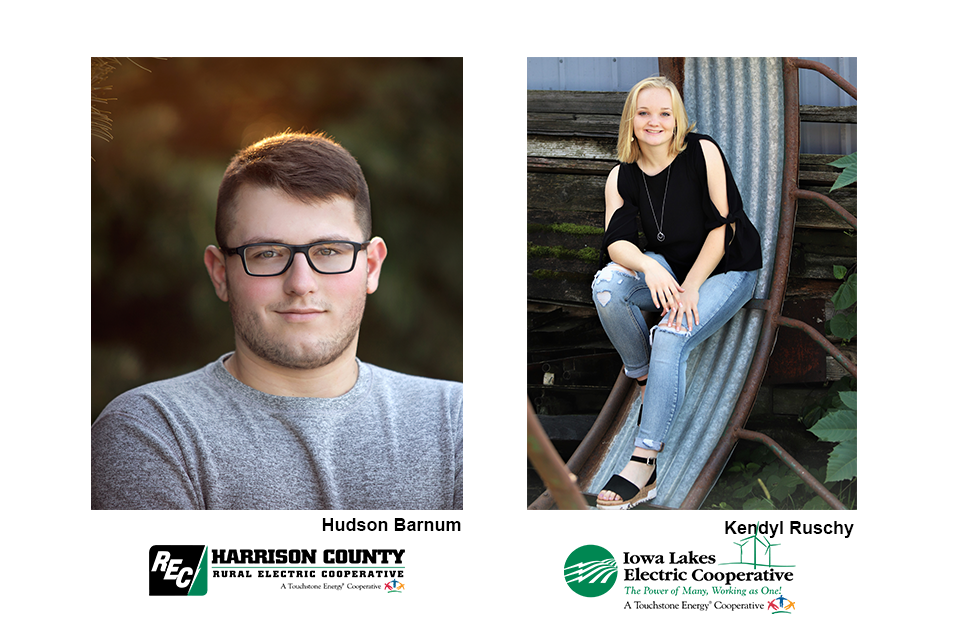 Pictured are scholarship recipients Hudson Barnum and Kendyl Ruschy.