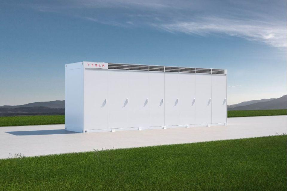Artist rendering of the utility-scale Tesla battery storage unit.