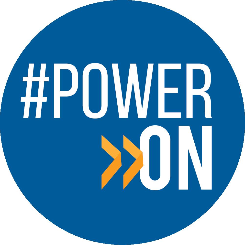 Graphic illustration of the Touchstone Energy #PowerOn logo button