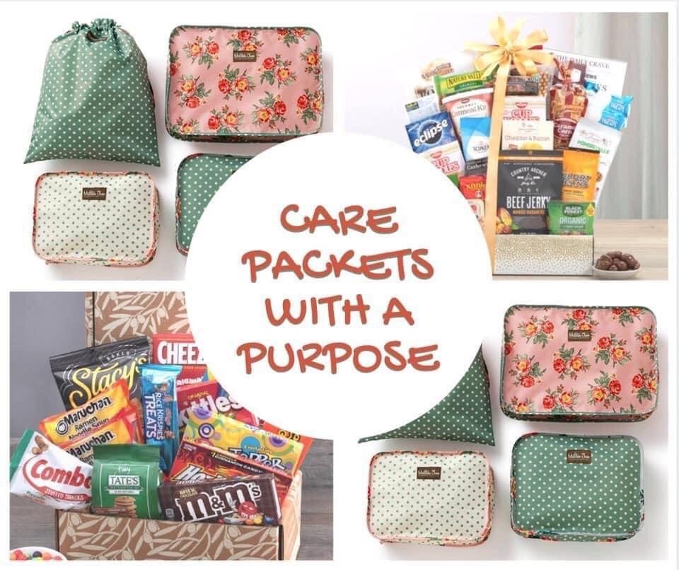 Collage of photos of care packages that were given to health care workers in Onawa.