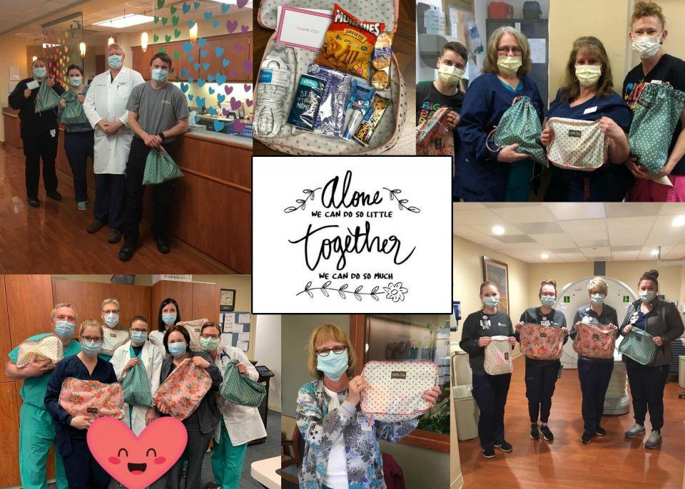 Photo collage of healthcare workers posed with their care packages and an image of the note that says: Alone we can do so little; Together we can do so much.