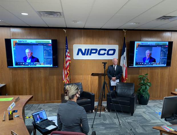 Photo image of the NIPCO Annual Meeting. Ron Steinhoff is presenting the award, virtually, to Don Applegate.