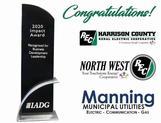 Graphic image of the Impact Award and the logos of Harrison County REC, North West REC, and Manning Municipal Utilities.