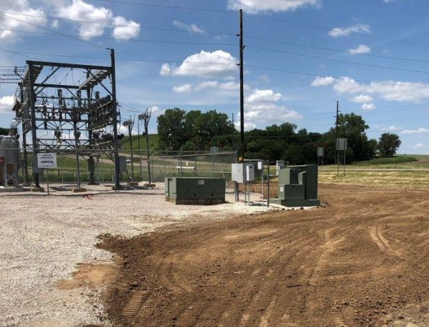 Photo image of the site work being done to prepare for the battery placement at the Lawton Substation.