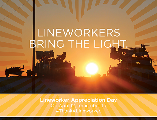 Line workers with thank you tagline