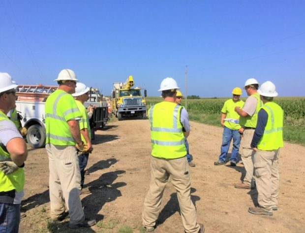 NIPCO Crews gathered for a tailgate meeting at the job site
