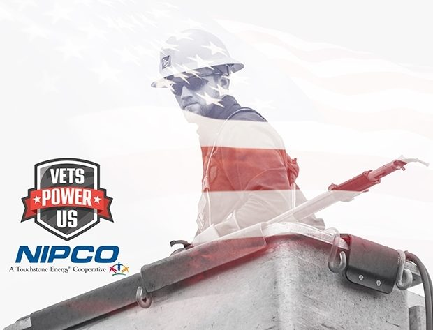 Graphic illustration of a lineman with an American flag behind him and the NIPCO and Vets Power Us logo