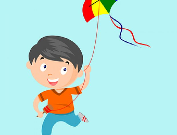 Child flying kite