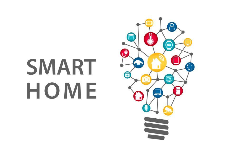 graphic representation of grouped smart home gadget icons in the shape of a light bulb