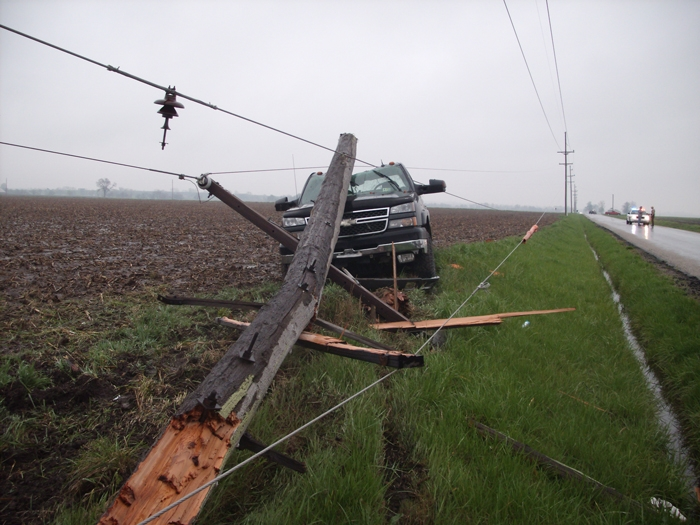 power pole and lines on truck