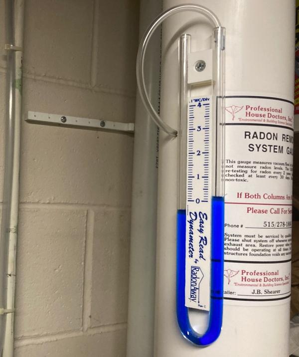 radon system monitoring unit