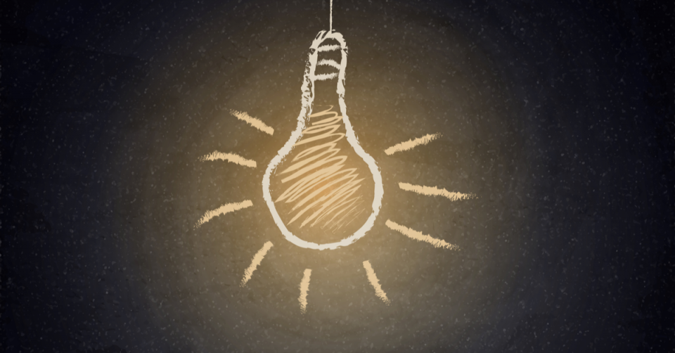 Graphic illustration: a chalkboard drawing of a lightbulb hanging from a cord that is lit up