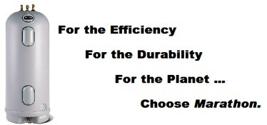"a graphic of a marathon water heater with the words ""for the efficiency, for the durability, for the planet, choose marathon."""
