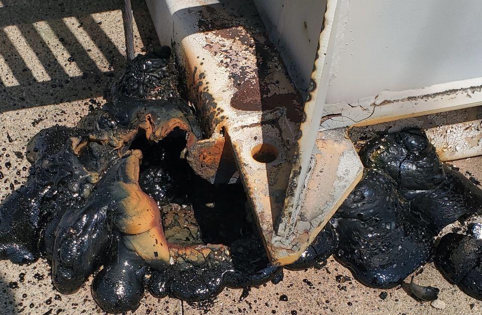 Photo image of the burn damage at a substation.