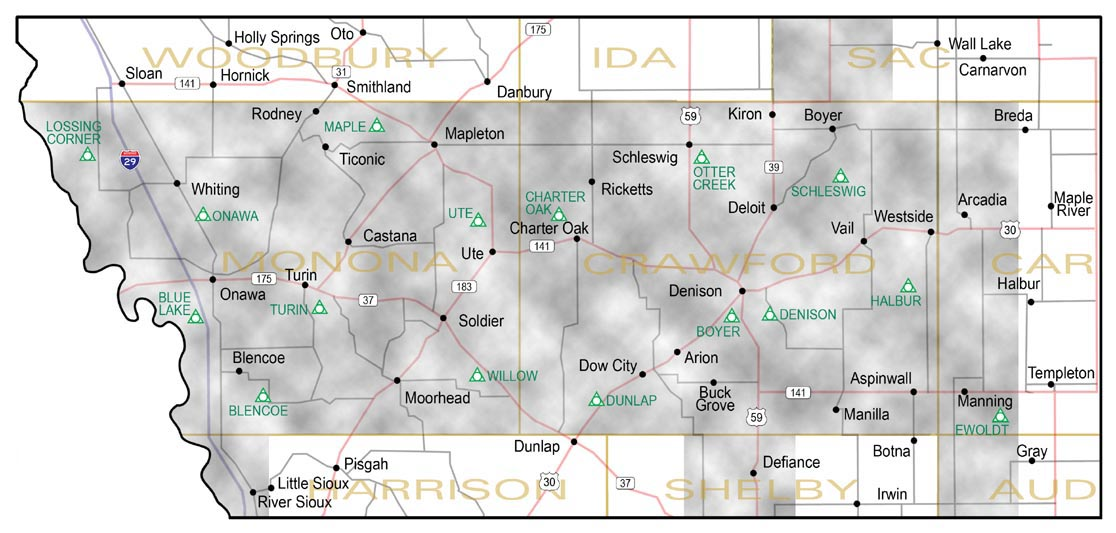 Western Iowa Power Cooperative service territory map