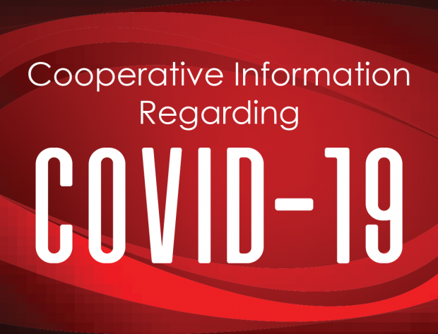 COVID-19 against a red background