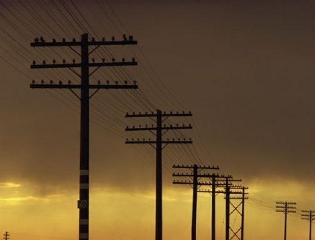 Row of power poles