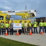 Governor Kim Reynolds and Lt. Governor Adam Gregg met with linemen at MiEnergy Cooperative in north central Iowa on June 16 and learned more about how Iowa's Move Over or Slow Down law applies to utility and maintenance vehicles.