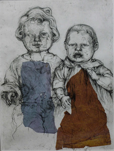 Brother and sister etching