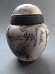 Horsehair raku lidded jar