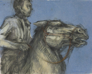 Horse and rider pastel and monotype
