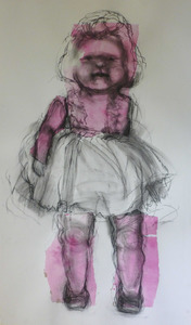 Pink doll with chine colle