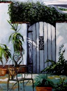 4schlag garden gate   acrylics oils 18x24