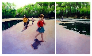 5 schlag follow the leader diptych  oils   36x60