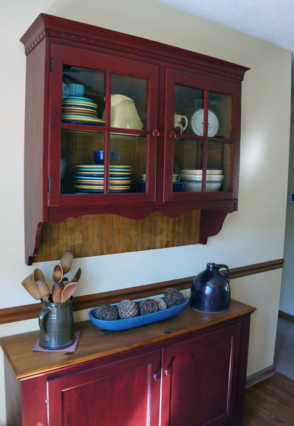 Red antique buffet via Year of Serendipity