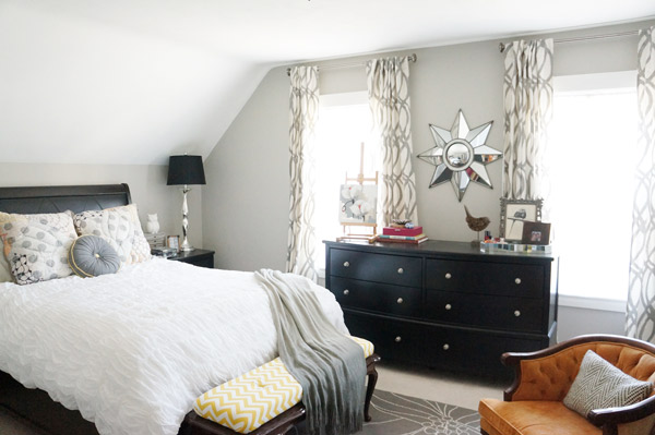 dramatic gray bedroom via year of serendipity