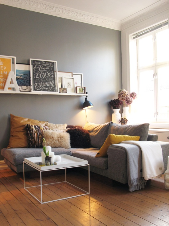 gray living room picture ledge