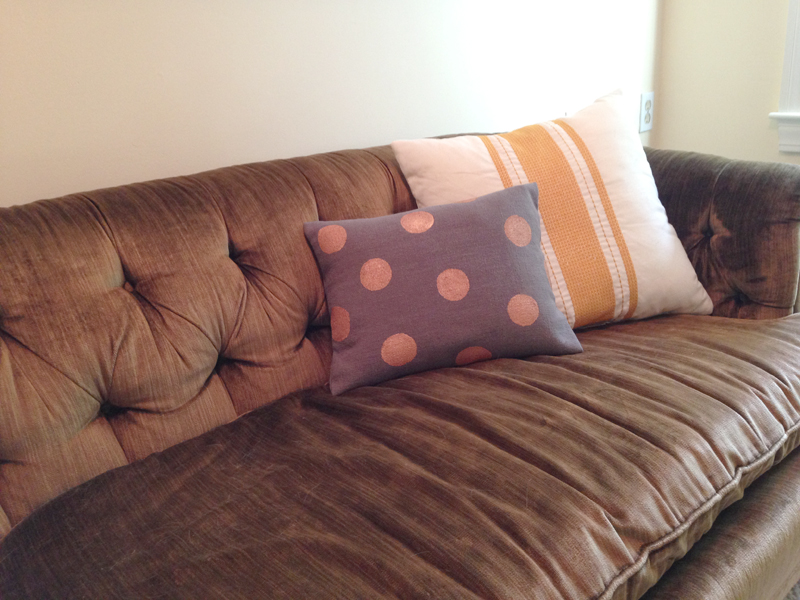 DIY copper dot pillow
