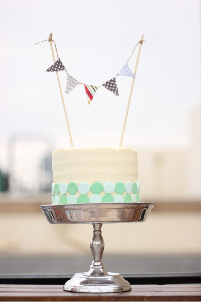 dotted banner cake