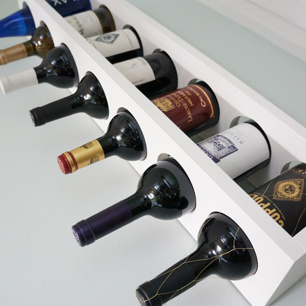 DIY wine rack close-up