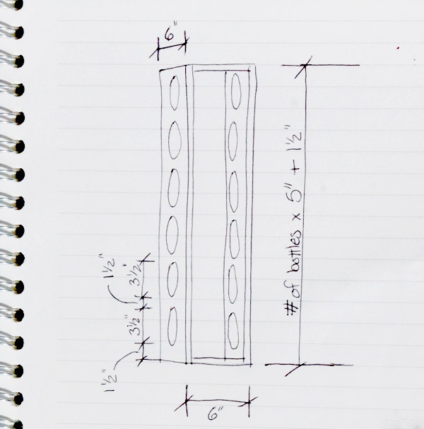 DIY wine rack sketch