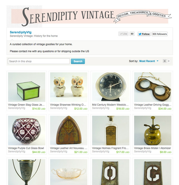 serendipity vintage etsy store