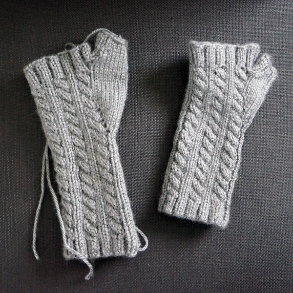 cable knit fingerless gloves progress