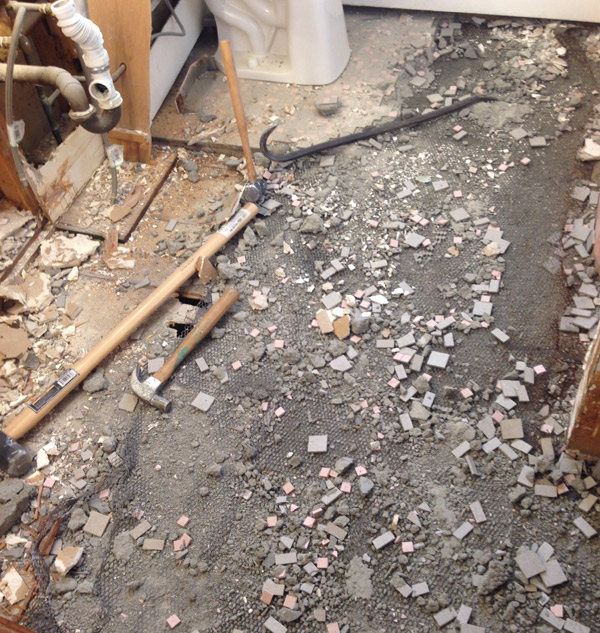 smashed bathroom floor