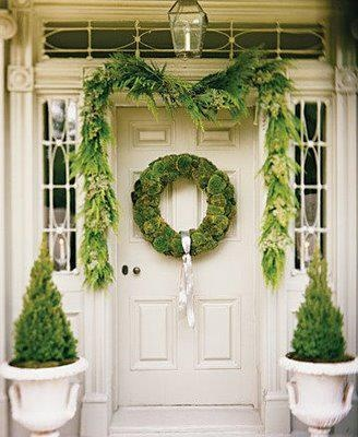 simple green holiday porch