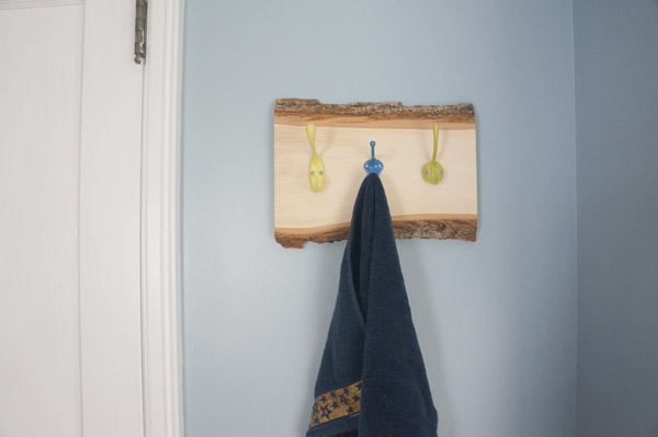 multi-color rustic kid towel hooks
