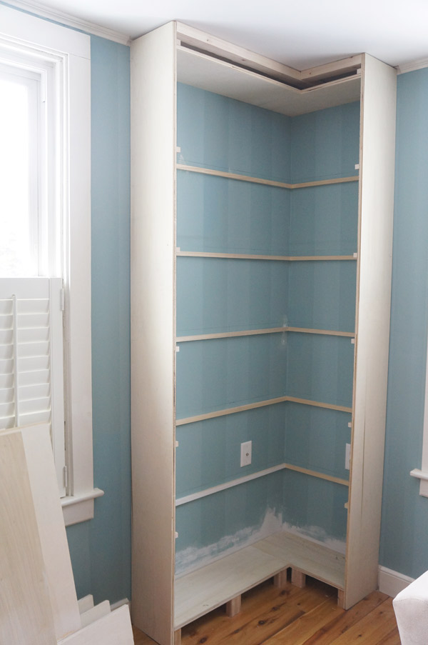 built in bookcase progress