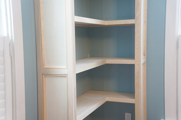 built in bookcase completed trim