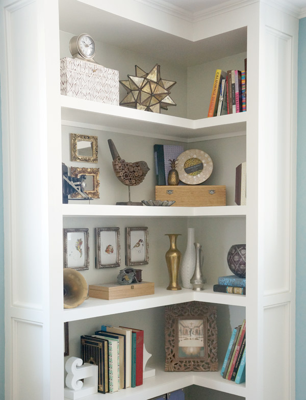 Styled Corner Built-in Bookcase