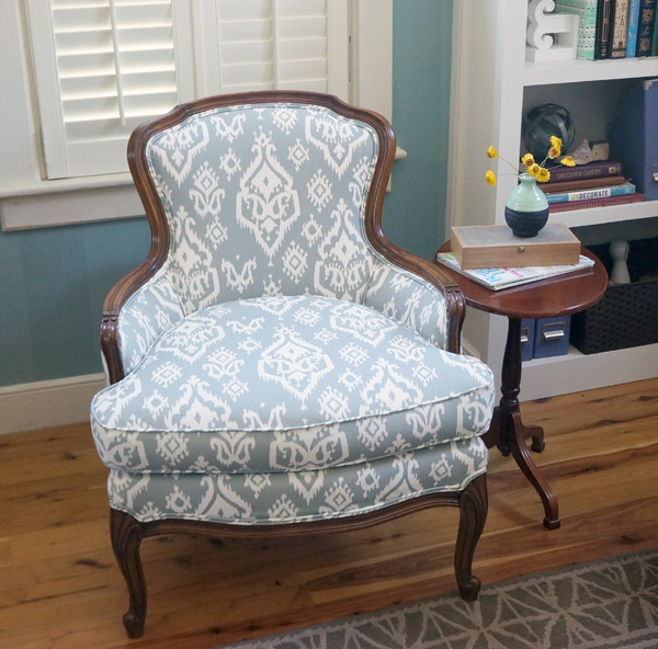 Reupholstered antique ikat chair after