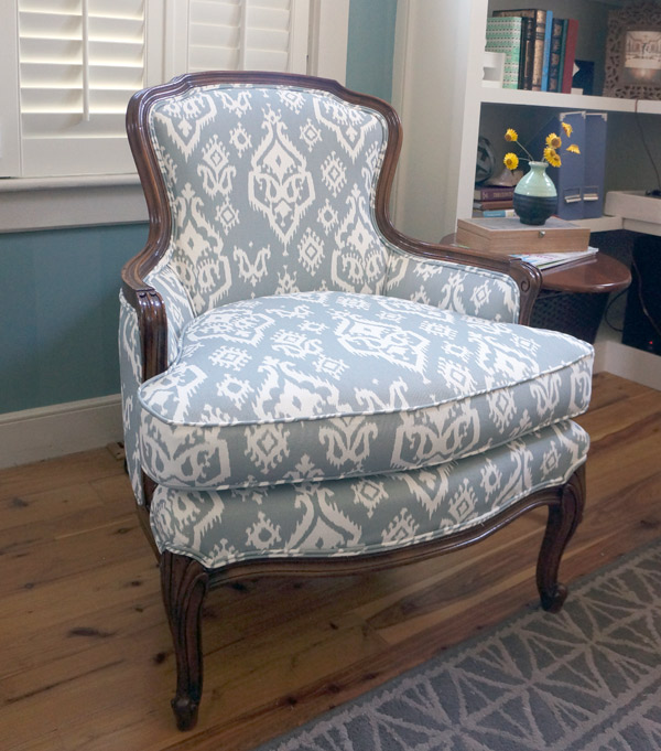Reupholstered antique ikat chair