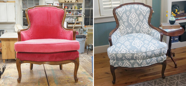 Reupholstered antique ikat chair before and after