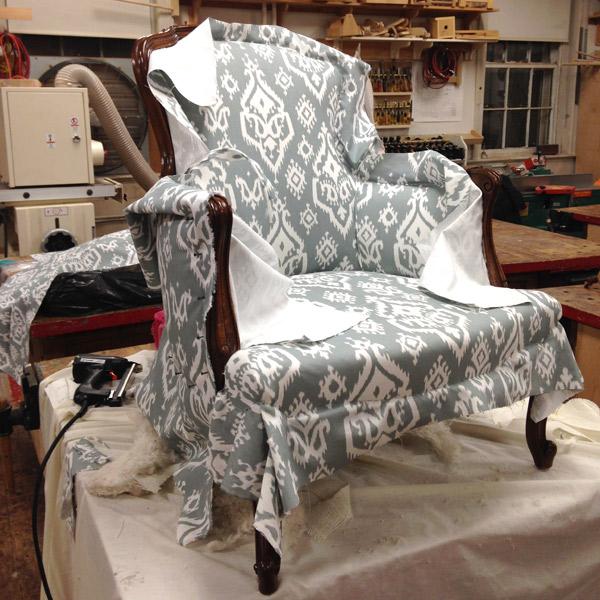 Antique chair reupholstery progress 4