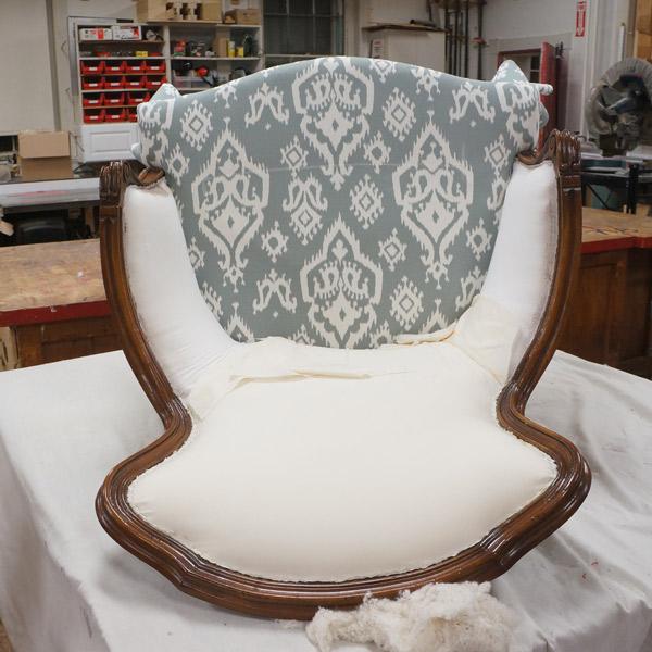 Antique chair reupholstery progress 3